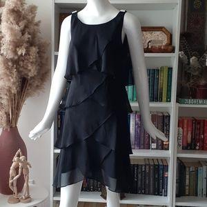 CB signature black ruffled dress